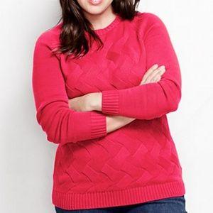 Lands End Drifter Texture Crewneck Sweater Berry